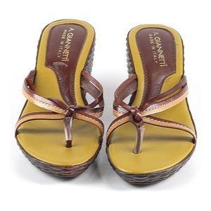 A Giannetti Brown Wedge Thong Sandal Sz 39 EUR